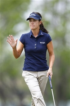 BROKEN ARROW, OK - MAY 01: Leta Lindley acknowledges the crowd after making a putt on the 9th hole during the first round of the SemGroup Championship presented by John Q. Hammons on May 1, 2008 at Cedar Ridge Country Club in Broken Arrow, Oklahoma. (Photo by G. Newman Lowrance/Getty Images)