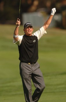 Dana Quigley celebrates holing in for an eagle on the ninth fairway during the third round of the Champions Tour 2005 Charles Schwab Cup Championship at Sonoma Golf Club in Sonoma, California October 29, 2005.Photo by Steve Grayson/WireImage.com