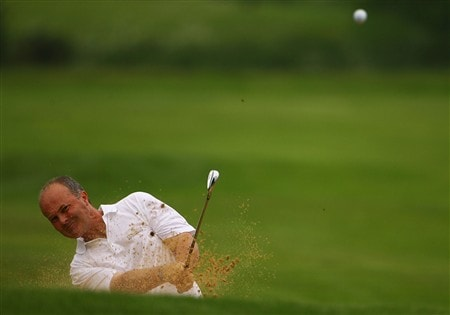 NORTHAMPTON, UNITED KINGDOM - MAY 30:  Glyn Krause plays out the bunker on the 5th hole during the Senior PGA Professional Championships at Northampton County Golf Club on May 30, 2008 in Northampton, England.  (Photo by Matthew Lewis/Getty Images)