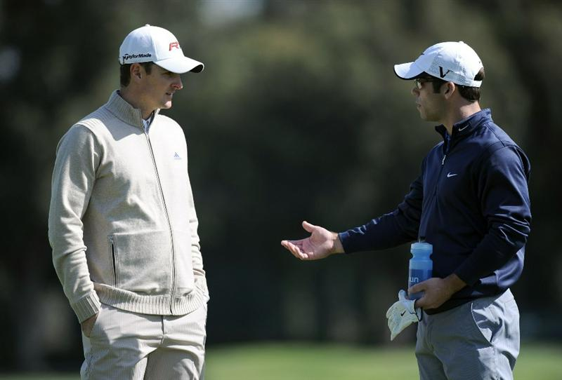 PACIFIC PALISADES, CA - FEBRUARY 19:  Paul Casey of England chats with Justin Rose of England  on the third fairway during the third round of the Northern Trust Open at the Riviera Contry Club on February 19, 2011 in Pacific Palisades, California.  (Photo by Harry How/Getty Images)