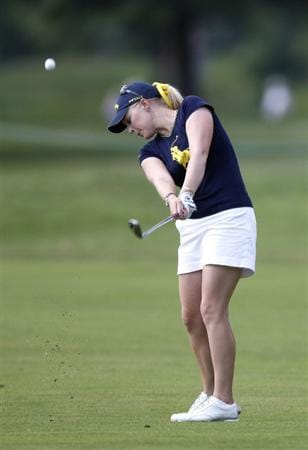 SYLVANIA, OH - JULY 05: Morgan Pressel hits from the 17th fairway during the final round of the Jamie Farr Owens Corning Classic at Highland Meadows Golf Club on July 5, 2009 in Sylvania, Ohio. The ball went in for eagle to tie for the lead. Pressel lost in a playoff to Eunjung Yi.  (Photo by Gregory Shamus/Getty Images)