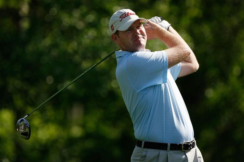 HUMBLE, TX - APRIL 02:  Troy Matteson tees off on the second hole during the first round of the Shell Houston Open at Redstone Golf Club April 2, 2009 in Humble, Texas.  (Photo by Chris Graythen/Getty Images)