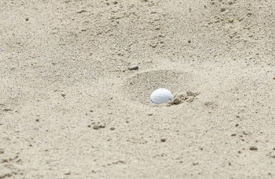 Jim Furyk's ball in a 'fried egg lie' at a bunker on #15 during the third round of the Buick Open held at Warwick Hills Golf & Country Club in Grand Blanc, Michigan, on June 30, 2007. Photo by: Chris Condon/PGA TOURPhoto by: Chris Condon/PGA TOUR