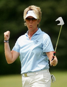 CORNING, NY - MAY 26:  Beth Bader reacts after making an eagle on the second hole during the third round of the Corning Classic at the Corning Country Club on May 26, 2007 in Corning, New York.  (Photo by Kyle Auclair/Getty Images)