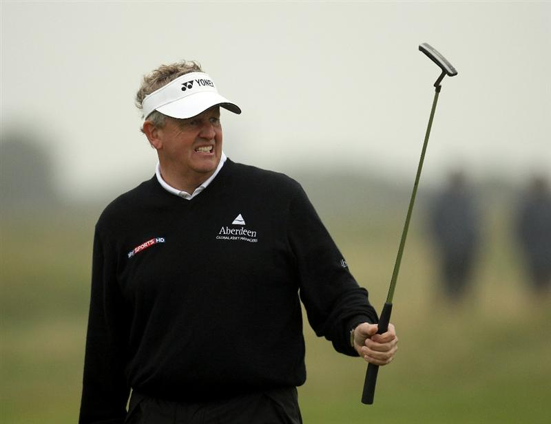 ST ANDREWS, SCOTLAND - OCTOBER 08:  Colin Montgomerie of Scotland reacts after putting on the 17th green during the second round of The Alfred Dunhill Links Championship at The Old Course on October 8, 2010 in St Andrews, Scotland.  (Photo by Ross Kinnaird/Getty Images)