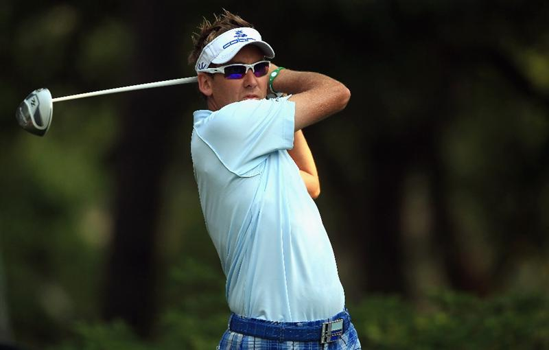 HILTON HEAD ISLAND, SC - APRIL 21:  Ian Poulter of England hits his tee shot on the 11th hole during the first round of The Heritage at Harbour Town Golf Links on April 21, 2011 in Hilton Head Island, South Carolina.  (Photo by Streeter Lecka/Getty Images)