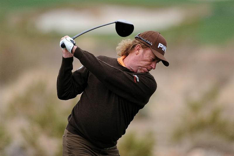 MARANA, AZ - FEBRUARY 26:  Miguel Angel Jimenez of Spain hits his tee shot on the second hole during the quarterfinal round of the Accenture Match Play Championship at the Ritz-Carlton Golf Club on February 26, 2011 in Marana, Arizona.  (Photo by Stuart Franklin/Getty Images)