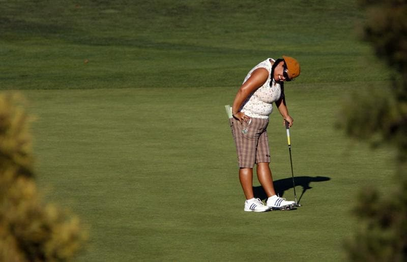 DANVILLE, CA - OCTOBER 9: Christina Kim reacts after missing a putt on the 16th hole during the first round of the LPGA Longs Drugs Challenge at the Blackhawk Country Club October 9, 2008 in Danville, California. (Photo by Max Morse/Getty Images)