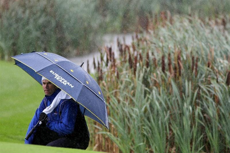NEWPORT, WALES - OCTOBER 01:  Padraig Harrington of Europe waits on the third green during the Morning Fourball Matches during the 2010 Ryder Cup at the Celtic Manor Resort on October 1, 2010 in Newport, Wales.  (Photo by Jamie Squire/Getty Images)
