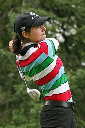 CALGARY, AB - SEPTEMBER 06 : Lorena Ochoa of Mexico hits her tee shot on the eighth hole during the final round of the Canadian Women's Open at Priddis Greens Golf & Country Club on September 6, 2009 in Calgary, Alberta, Canada. (Photo by Hunter Martin/Getty Images)
