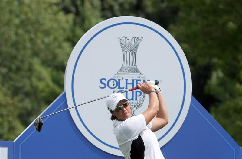 SUGAR GROVE, IL - AUGUST 21:  Maria Hjorth of the European Team and Sweden on the 8th tee during the Friday morning fourball matches at the 2009 Solheim Cup Matches, at the Rich Harvest Farms Golf Club on August 21, 2009 in Sugar Grove, Ilinois  (Photo by David Cannon/Getty Images)