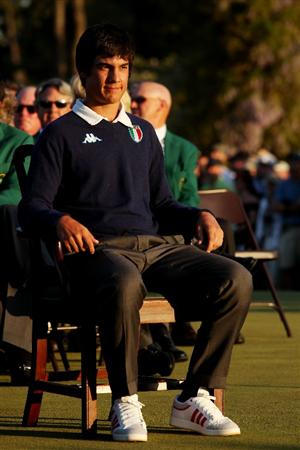 AUGUSTA, GA - APRIL 11:  Low Amateur Matteo Manassero of Italy waits on the putting green during the green jacket presentation after the final round of the 2010 Masters Tournament at Augusta National Golf Club on April 11, 2010 in Augusta, Georgia.  (Photo by Andrew Redington/Getty Images)