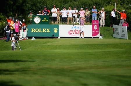 EVIAN, FRANCE - JULY 27:  Helen Alfredsson of Sweden tees off on the 18th hole during the final round of the Evian Masters at the Evian Masters Golf Club on July 27, 2008 in Evian, France.  (Photo by Andrew Redington/Getty Images)