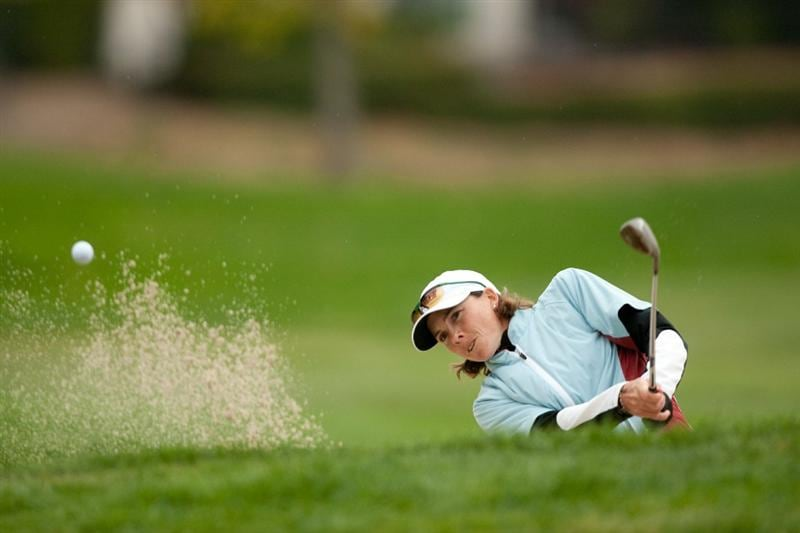 DANVILLE, CA - OCTOBER 17: Libby Smith follows through on a bunker shot during the final round of the CVS/Pharmacy LPGA Challenge at Blackhawk Country Club on October 17, 2010 in Danville, California. (Photo by Darren Carroll/Getty Images)