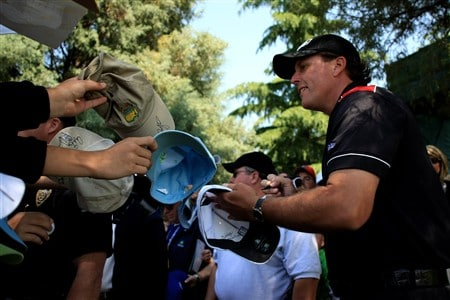 CHARLOTTE, NC - APRIL 30:  Phil Mickelson signs autograpghs for fans during the pro-am for the Wachovia Championship at Quail Hollow Country Club on April 30, 2008 Charlotte, North Carolina.  (Photo by Richard Heathcote/Getty Images)