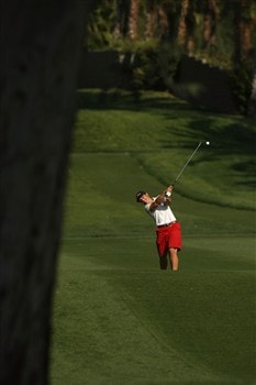 RANCHO MIRAGE, CA - APRIL 05:  Heather Young hits her second shot on the 15th hole during the third round of the Kraft Nabisco Championship at Mission Hills Country Club on April 5, 2008 in Rancho Mirage, California.  (Photo by Stephen Dunn/Getty Images)