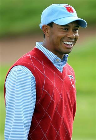 NEWPORT, WALES - SEPTEMBER 28:  Tiger Woods of the USA smiles during a practice round prior to the 2010 Ryder Cup at the Celtic Manor Resort on September 28, 2010 in Newport, Wales.  (Photo by Andy Lyons/Getty Images)