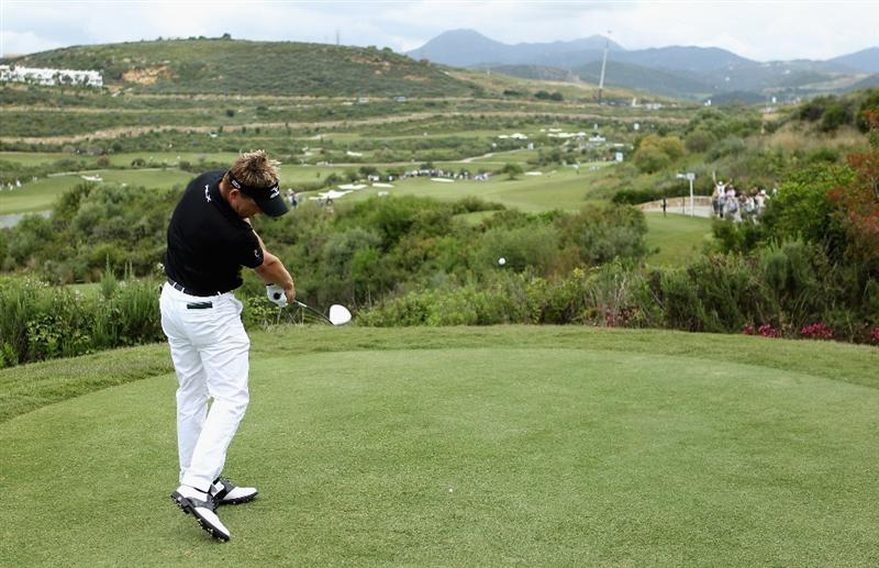 CASARES, SPAIN - MAY 20:  Luke Donald of England tees off on the first hole during the group stages of the Volvo World Match Play Championships at Finca Cortesin on May 20, 2011 in Casares, Spain.  (Photo by Warren Little/Getty Images)