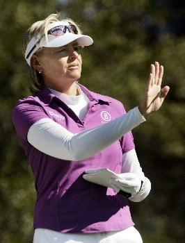 MOBILE, AL - NOVEMBER 8:  Liselotte Neumann of Sweden prepares to hit her tee shot on the second hole during first round play in The Mitchell Company LPGA Tournament of Champions at Magnolia Grove Golf Course November 8, 2007 in Mobile, Alabama.  (Photo by Dave Martin/Getty Images)