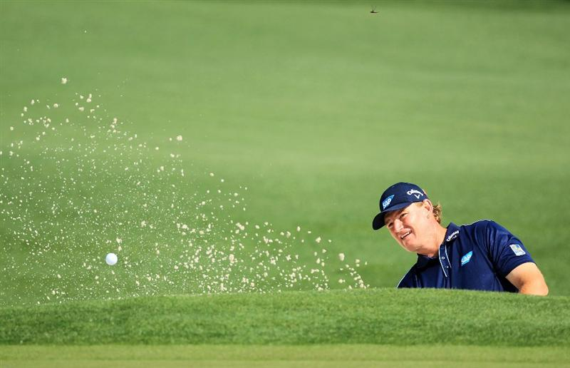 AUGUSTA, GA - APRIL 09:  Ernie Els of South Africa plays a bunker shot on the second hole during the third round of the 2011 Masters Tournament at Augusta National Golf Club on April 9, 2011 in Augusta, Georgia.  (Photo by David Cannon/Getty Images)