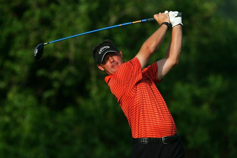 AVONDALE, LA - APRIL 24:  Alex Cejka of Germany tees off on the 2nd hole during the third round of the Zurich Classic at TPC Louisiana on April 24, 2010 in Avondale, Louisiana.  (Photo by Chris Trotman/Getty Images)