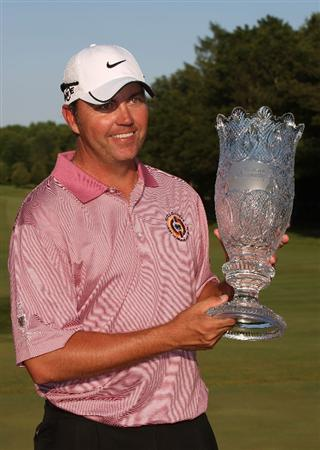 MILWAUKEE - JULY 19: Bo Van Pelt poses with the trophy after winning the U.S. Bank Championship on the second playoff hole on July 19, 2009 at the Brown Deer Park golf course in Milwaukee, Wisconsin. (Photo by Jonathan Daniel/Getty Images)