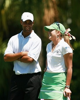 AVENTURA, FL - APRIL 24:  Paula Creamer (R) and tennis player James Blake share a laugh in the first round of the Stanford International Pro-Am at Fairmont Turnberry Isle Resort & Club April 24, 2008 in Aventura, Florida.  (Photo by Doug Benc/Getty Images)