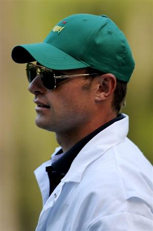 AUGUSTA, GA - APRIL 06:  Andy Roddick caddies for Zach Johnson during the Par 3 Contest prior to the 2011 Masters Tournament at Augusta National Golf Club on April 6, 2011 in Augusta, Georgia.  (Photo by Harry How/Getty Images)