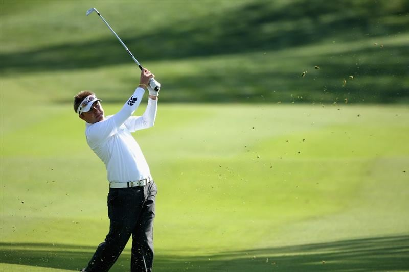 GIRONA, SPAIN - APRIL 30:  Andrew Tampion of Australia plays his second shot into the 13th green during the first round of the Open de Espana at the PGA Golf Catalunya on April 30, 2009 in Girona, Spain.  (Photo by Warren Little/Getty Images)