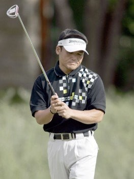 Shigeki Maruyama reacts after missing a putt on the first hole during the third round of the 2005 Michelin Championship Saturday, October 15, 2005, at the TPC at Summerlin in Las Vegas, Nevada.Photo by Grant Halverson/WireImage.com
