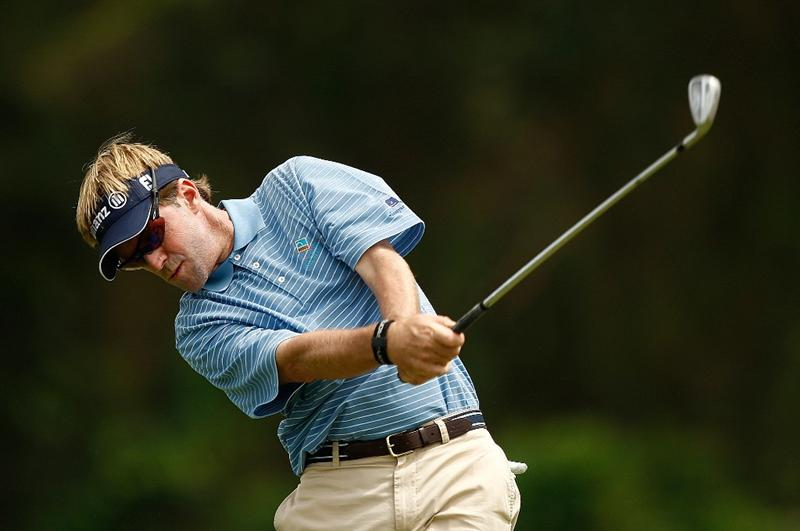 RIO GRANDE, PR - MARCH 15:  Brett Quigley hits a tee shot on the 8th hole during the final round of the 2009 Puerto Rico Open presented by Banco Popular at the Trump International Golf Club on March 15, 2009 in Rio Grande, Puerto Rico.  (Photo by Mike Ehrmann/Getty Images)