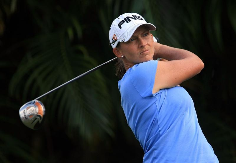 WEST PALM BEACH, FL - NOVEMBER 22:  Angela Stanford hits her tee shot on the ninth hole during the third round of the ADT Championship at the Trump International Golf Club on November 22, 2008 in West Palm Beach, Florida.  (Photo by Scott Halleran/Getty Images)