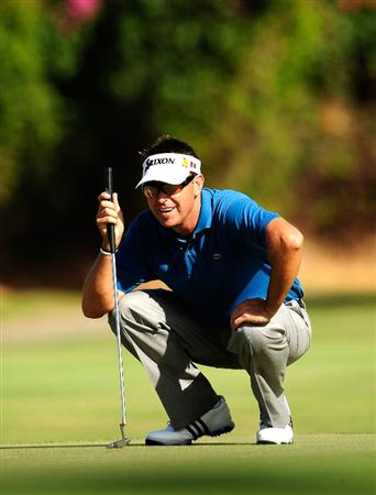 HONOLULU,HI - JANUARY 16:  Robert Allenby of Australia plays a shot on the 7th hole during the third round of the Sony Open at Waialae Country Club on January 16, 2010 in Honolulu, Hawaii.  (Photo by Sam Greenwood/Getty Images)