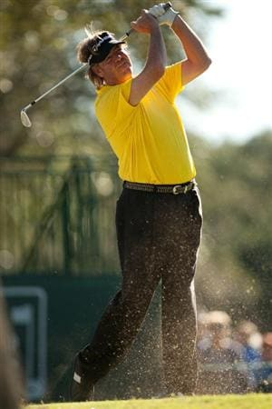 SAN ANTONIO, TX - OCTOBER 30: Steve Lowery follows through on a tee shot during the second round of the AT&T Championship at Oak Hills Country Club on October 30, 2010 in San Antonio, Texas. (Photo by Darren Carroll/Getty Images)