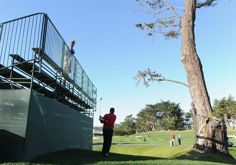 PEBBLE BEACH, CA - FEBRUARY 11:  Steve Marino plays his approach shot on the third hole during the second round of the AT&T Pebble Beach National Pro-Am at the Pebble Beach Golf Links on February 11, 2011  in Pebble Beach, California  (Photo by Stuart Franklin/Getty Images)