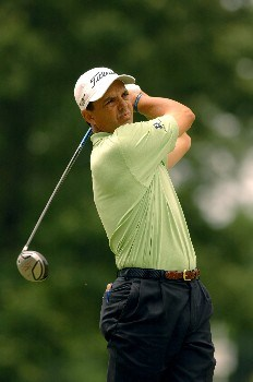 Tom Pernice Jr. hits from the tee during the Final Round of The Fedex St. Jude Classic at TPC @ Southwind in Memphis, Tennessee on May 29, 2005.Photo by Joe Murphy/WireImage.com