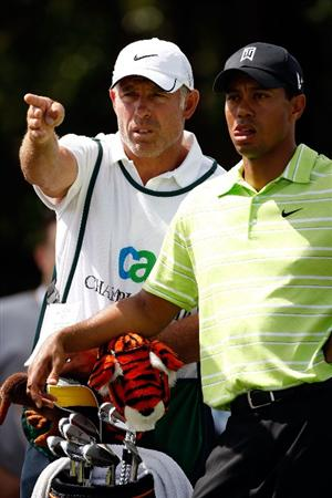 DORAL, FL - MARCH 14:  Tiger Woods confers with caddie Steve Williams on the 4th hole during the third round of the World Golf Championships-CA Championship on March 14, 2009 at the Doral Golf Resort and Spa in Miami, Florida.  (Photo by Jamie Squire/Getty Images)