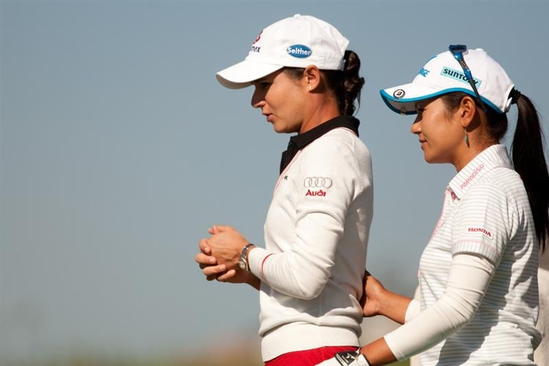 MORELIA, MEXICO - APRIL 29: Lorena Ochoa of Mexico walks to the tee with Ai Miyazato of Japan during the first round of the  Tres Marias Championship at the Tres Marias Country Club on April 29, 2010 in Morelia, Mexico. (Photo by Darren Carroll/Getty Images)