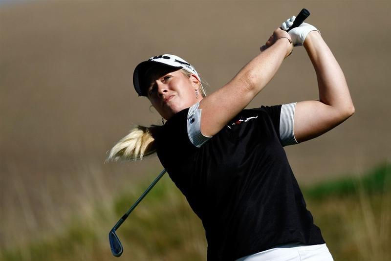 DANVILLE, CA - SEPTEMBER 25:  Brittany Lincicome tees off on the 16th hole during the second round of the CVS/pharmacy LPGA Challenge at Blackhawk Country Club on September 25, 2009 in Danville, California.  (Photo by Jonathan Ferrey/Getty Images)