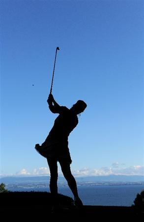EVIAN-LES-BAINS, FRANCE - JULY 25:  Maria Verchenova of Russia plays her tee shot on the second during the third round of the Evian Masters at the Evian Masters Golf Club on July 25, 2009 in Evian-les-Bains, France.  (Photo by Stuart Franklin/Getty Images)