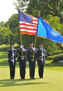 FORT WORTH , TX - MAY 25: The Marines honor the soldiers on Memorial Weekend during the fourth and final round of the Crowne Plaza Invitational at Colonial Country Club on May 25, 2008 in Fort Worth, Texas.(Photo by Marc Feldman/Getty Images)