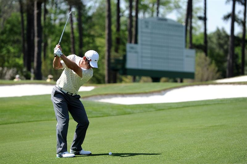 AUGUSTA, GA - APRIL 04:  Paul Casey of England hits a shot during a practice round prior to the 2011 Masters Tournament at Augusta National Golf Club on April 4, 2011 in Augusta, Georgia.  (Photo by Harry How/Getty Images)
