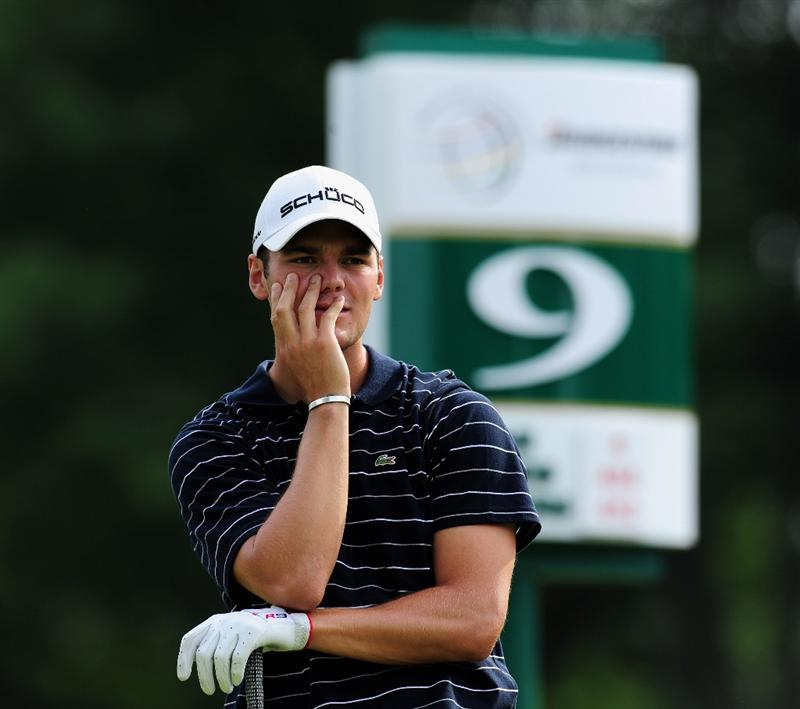 AKRON, OH - AUGUST 07:  Martin Kaymer of Germany ponders his tee shot on the nineth hole during the second round of the World Golf Championship Bridgestone Invitational on August 7, 2009 at Firestone Country Club in Akron, Ohio.  (Photo by Stuart Franklin/Getty Images)