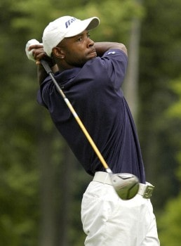 Tim O'Neal tees off on the 13th hole during the first round of the Nationwide Tour Xerox Classic in Rochester, N.Y., Thursday, Aug. 18, 2005.Photo by Kevin Rivoli/WireImage.com