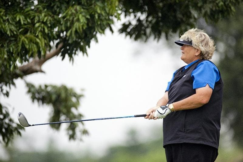 HAIKOU, CHINA - OCTOBER 28:Golfer Laura Davies of Great Britain in action during the Mission Hills Star Trophy at Blackstone Course, Mission Hill Hainan on October 28, 2010 in Haikou, China. The Mission Hills Star Trophy is Asia's leading leisure lifestyle event which features Hollywood celebrities and international golf stars.  (Photo by Athit Perawongmetha/Getty Images)