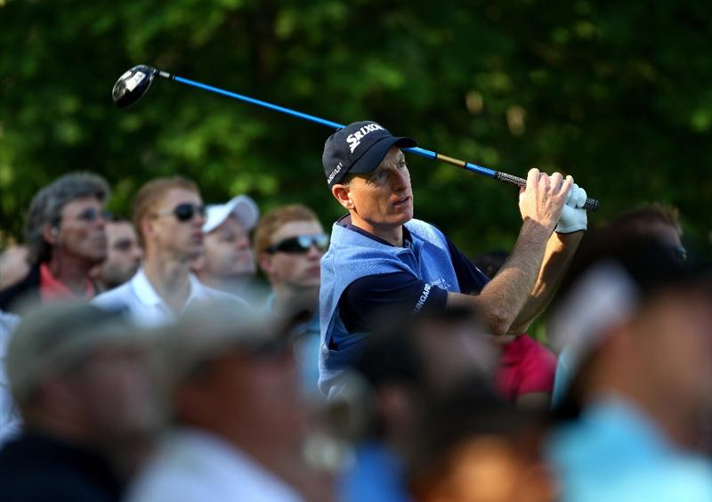CHARLOTTE, NC - APRIL 30:  Jim Furyk tee's off at the 15th during the second round of the Quail Hollow Championship at Quail Hollow Country Club on April 30, 2010 in Charlotte, North Carolina.  (Photo by Richard Heathcote/Getty Images)
