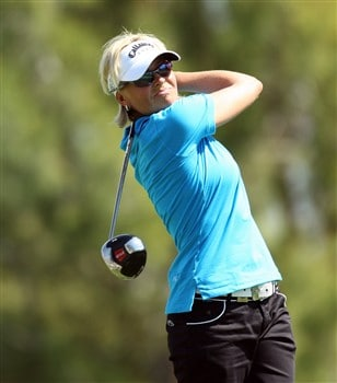 RANCHO MIRAGE, CA - APRIL 04:  Liselotte Neumann of Sweden tees off at the 11th hole during the second round of the Kraft Nabisco Championship at the Mission Hills Country Club, on April 4, 2008 in Rancho Mirage, California.  (Photo by David Cannon/Getty Images)