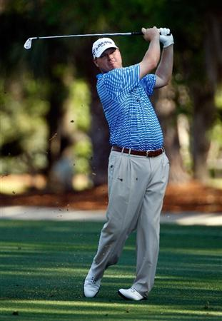 HILTON HEAD ISLAND, SC - APRIL 16:  Chad Campbell hits his approach shot on the second hole during the second round of the Verizon Heritage at the Harbour Town Golf Links on April 16, 2010 in Hilton Head lsland, South Carolina.  (Photo by Scott Halleran/Getty Images)