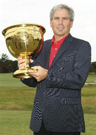 MELBOURNE, AUSTRALIA - NOVEMBER 29:  Fred Couples of Australia poses with the Cup during Presidents Cup Captains Day at Royal Melbourne Gof Course on November 29, 2010 in Melbourne, Australia.  (Photo by Lucas Dawson/Getty Images)