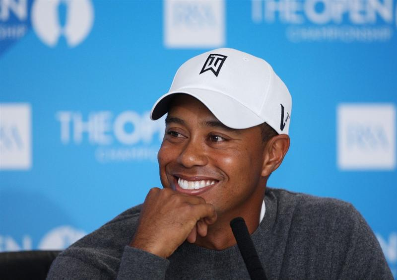 TURNBERRY, SCOTLAND - JULY 14:   Tiger Woods of USA listens to questions from the media at a press conference during a practice round prior to the 138th Open Championship on the Ailsa Course, Turnberry Golf Club on July 14, 2009 in Turnberry, Scotland.  (Photo by Andrew Redington/Getty Images)